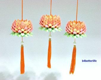 3pcs Small size Orange Color Origami Hanging Lotus. (AV Paper Series). #FLT-09.