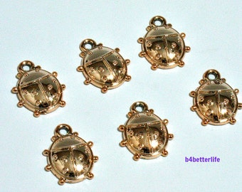 """Lot of 24pcs """"Beetle"""" Gold Color Plated Metal Charms. #SW2643."""