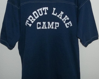 Vintage Trout Lake Camp Shirt, Size Large, Vintage Camp Shirt