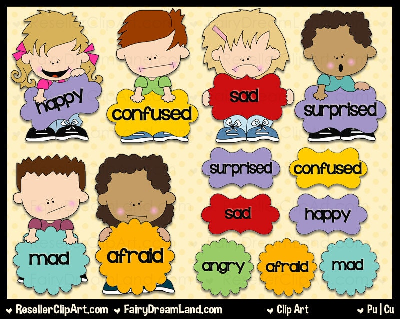 Clip Art Emotions Clipart emotions clip art etsy mixed commercial use digital image png clipart instant download shoe string kid series speech bubbles word art
