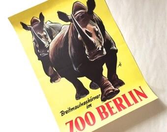 Zoo Berlin- Original 1980s Advertising Poster- Rhino Design