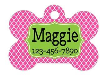 Personalized Pet Tag - Pet Tag - Custom Pet Tag - Pink & Green Pet Tag - Pet Name Tag