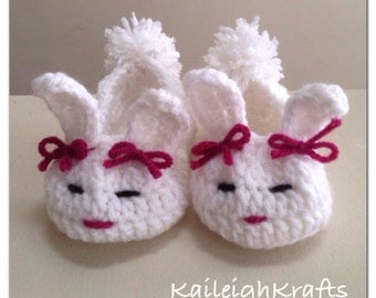 Easter Baby Bunny Booties, Spring Crochet Bunny Slippers, Many Colours and Sizes