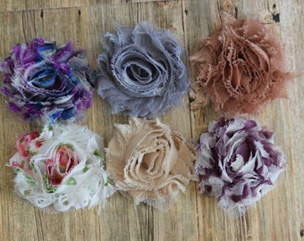 "You Pick 6 - Shabby Frayed Chiffon Flowers (2"") - Hair Accessory Supplies"