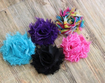 "You Pick 6 - Shabby Frayed Chiffon Flowers (1.5"") - Hair Accessory Supplies"
