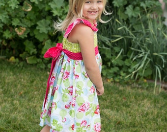 READY TO SHIP Sweet Spring Ruffle Sundress - Girls - Easter - Floral - Hot Pink, Green, White - Summer - Holiday - Party - Wedding - Gift