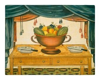 Bowl of Fruit, Folk Art Oil Painting Print