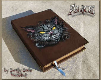 Handmade Leather Journal Alice - Madness Returns 6 x 8 inches / Gift Set / Original Present / hand painting / Geek