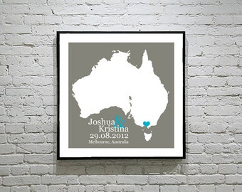 Australia Wedding Gift Custom Map Personalized Couple Art Personalized Australia Map Art Personalized