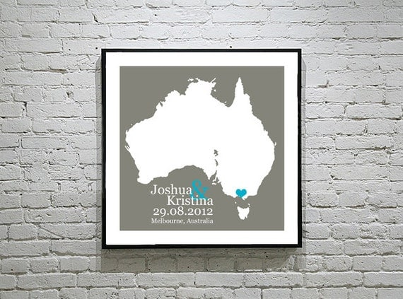 Personalised Wedding Gift Australia : Australia Wedding Gift Custom Map Personalized Couple Art Personalized ...