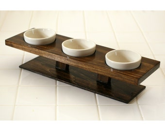 Cat or small dog food bowl water dish elevated bowl triple feeder dark walnut finish ceramic handcrafted pet bowl modern gift