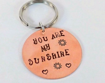 You Are My Sunshine Copper Key Chain, Teen Driver Gift, I Love You Key Chain, Gift for Him, New Driver Key Chain
