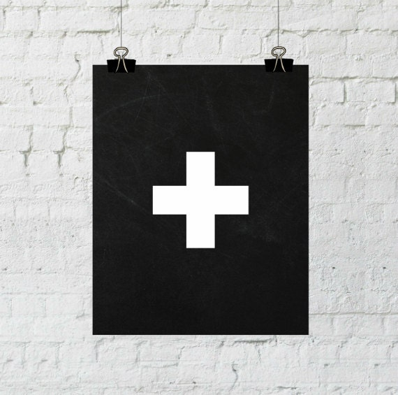 Swiss Cross Print, Swiss Cross Wall Art, Swiss Cross Art, Simple Print, Scandinavian Design, Minimalist Decor, Modern Minimalist