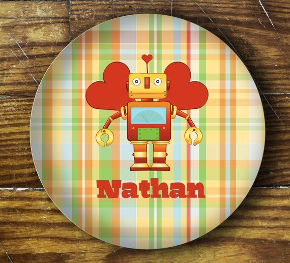 Personalized Dinner Plate or Bowl - Valentine Robot