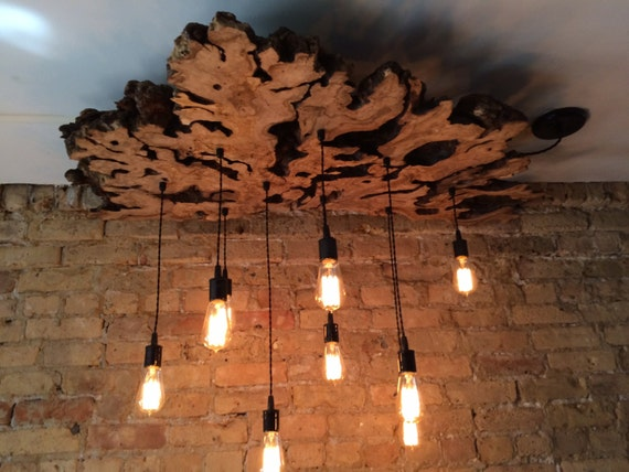 create a custom to order live edge slab light fixture with hanging. Black Bedroom Furniture Sets. Home Design Ideas