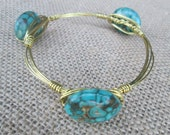 Turquoise Bangle Bracelet, Unique Wire Bracelet
