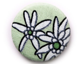 Edelweiss pin back button or magnet