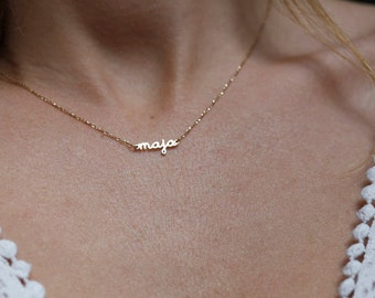Gold Name Necklace, Gold Signature Necklace, Custom Gold Name Necklace, Script Necklace