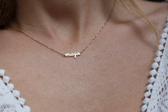 Gold Name Necklace Gold Signature Necklace Custom Gold Name