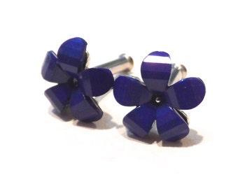 10g Blue Flower Plug Earrings