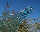 Aqua Floral Motif Flattened Slumped Wine Bottle  - Wire & Bead Embellished Sun Catcher, Cheese Tray, Spoon Rest  - Kiln Fired Wine Bottle