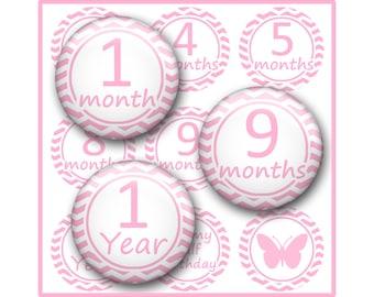 Baby Month Bottle Cap Image Sheet, First Year, Birthday