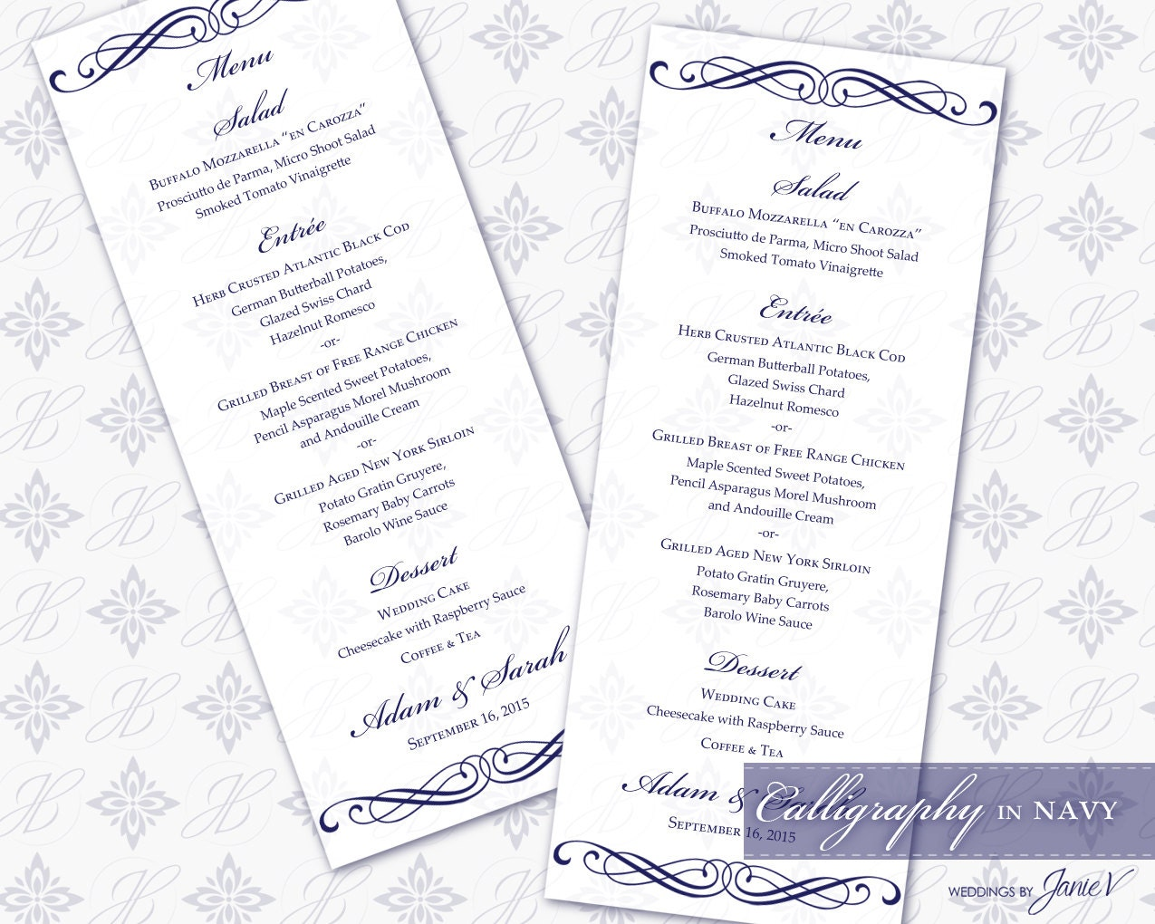 This is a graphic of Breathtaking Printable Wedding Menus