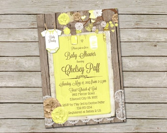 Burlap and Lace Baby Shower invitation, Yellow, Mason Jar, Printable, Digital File, Personalized, 5x7