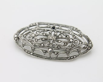 Vintage Sterling Silver and Marcasite Authentic Art Deco Openwork Brooch. [3356]