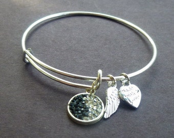 AA1031B Black and Clear Pave Crystal Adjustable Wire Bracelet w Small Angel Wing & Heart Charms ~ Silver Plated