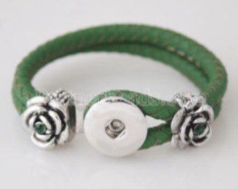 Small Dark Green Leather Double Strap Braided Bracelet With Silver Flowers & Crystals