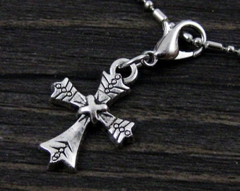 Beautiful Dangle Silver Cross for Bracelets, Floating Charm Pendants, Necklaces & Keychains  D031
