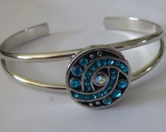 Complete Silver Bangle Bracelet Complete with Aqua Crystal Charm