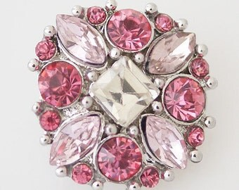 KB7345  Dk. Pink and Clear Crystals With a Square Cut Crystal in the Center