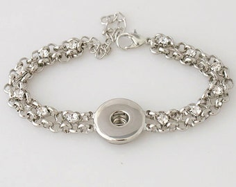 KB3309  Silver Link Bracelet with Crystals for Snap-It/Ginger Charms ~ Really Pretty