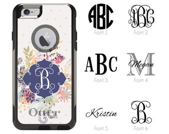 iPhone Otterbox Commuter Series Case for iPhone 5/5s/SE, 6/6s, 6 Plus/6s Plus, 7, 7 Plus Monogrammed Flowers Initials Personalized Case 1182
