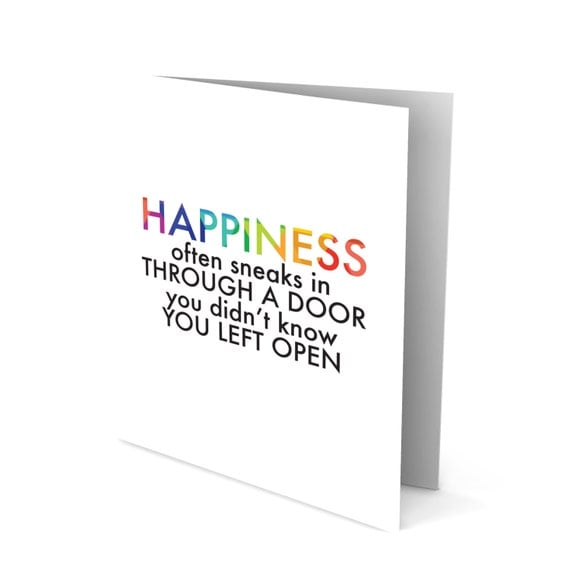 Handmade Greeting Card - Colorful Words - Happiness Often Sneak in Through a Door