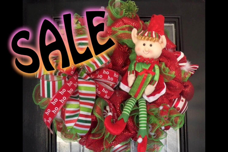 Deco Mesh Christmas Wreath, Holiday Wreath, Christmas Decoration, Ready to Ship