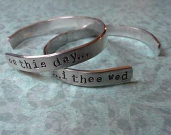 Hand Stamped Wedding Cuff Bracelet -Set of 2!