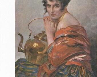 Beautiful 1900's Glamour Girl Postcard signed by L Schmutzler
