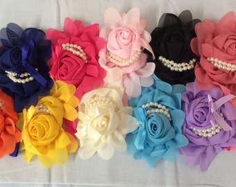 Baby Girls Flower and Pearls Headband  Skinny Elastic Headband Baby Gift