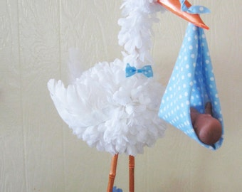 Baby stork etsy for Baby welcome decoration ideas
