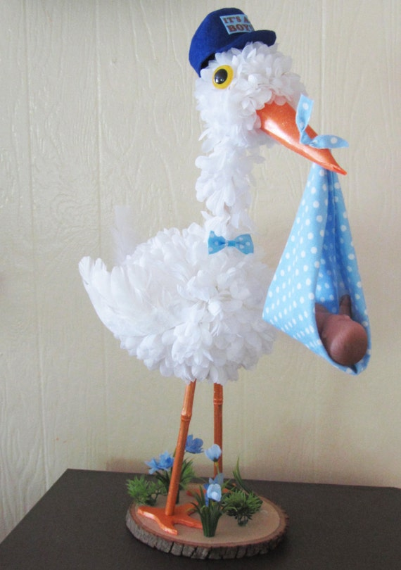 stork centerpiece baby boy stork centerpiece unique baby