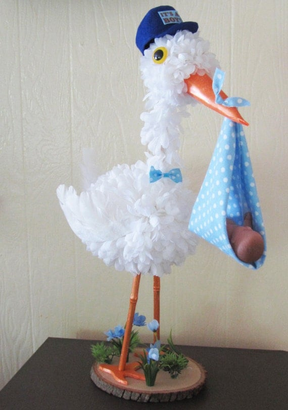 stork centerpiece baby boy stork centerpiece unique baby ForBaby Shower Stork Decoration