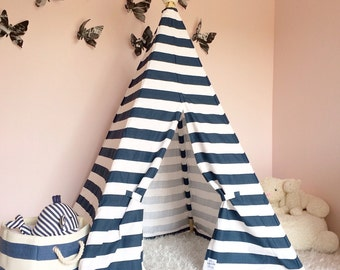 Kids Teepee Tent Navy Stripe - Childrens teepee, boy teepee, play teepee, play teepee, nursery decor, boys room, nautical nursery, tipi tent