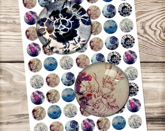 Floral digital collage sheet, circle images, printable download, for pendants, magnets, flower, 10mm to 1 inch you can choose