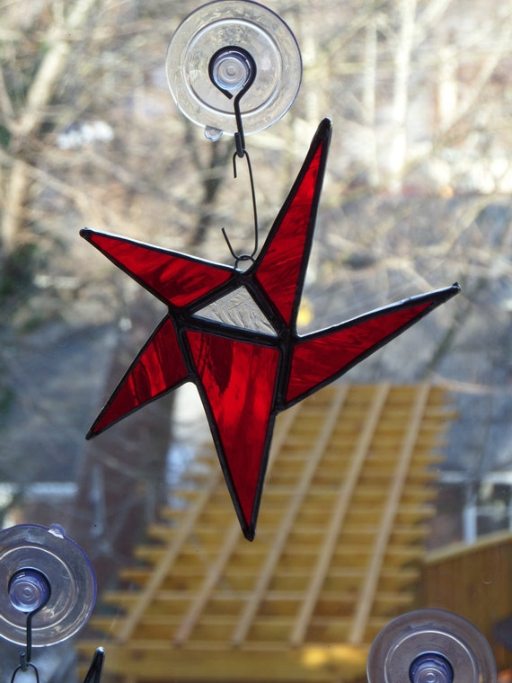 Red White and Blue /  Red Green and White / Hand Crafted Stained Glass Star, Four 6 inch star