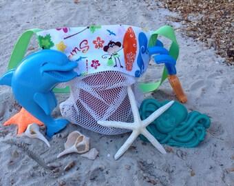 Seashell Bag Surf Monkey, Shell collecting bag, Girl, Boy, Kids, Mesh Bag, Beach Bag, SeaShell mesh bag, SMALL or MEDIUM size
