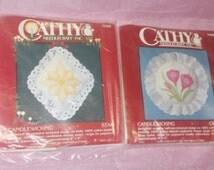 Cathy Needlecraft Candlewicking kit lot 7986 7099 Crocus Star Sealed vintage 80s 90s