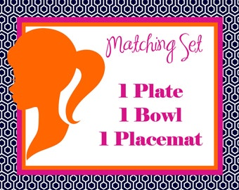 Children's Monogrammed Plate, Bowl and Placemat Set! VERY cute and custom made.Make meal time fun! The perfect holiday or birthday gift idea